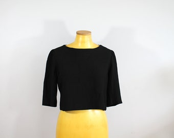 1950s Black Crop Top // Medium