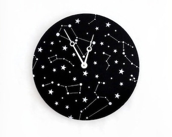 Unique Wall Clock, Bedroom Clocks, Constellation Art, Silver Stars, Astrological Art, Wall Decor