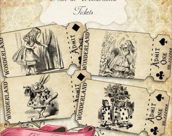 Alice in Wonderland Ticket Strips, Vintage Alice Tickets, Wonderland Party, Printable Tickets, Vintage Alice, INSTANT DOWNLOAD