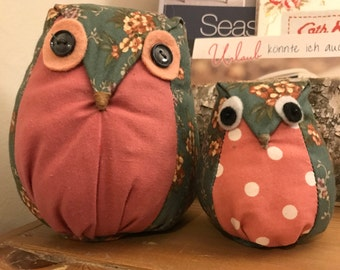 Decorative handmade fabric Owls - pink and green, floral and polkadot.
