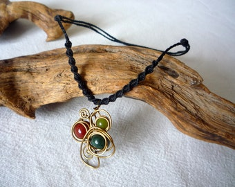 stones and brass wire pendant