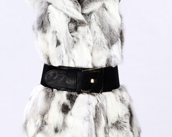 Silver Grey Rabbit Fur Jacket with Hood