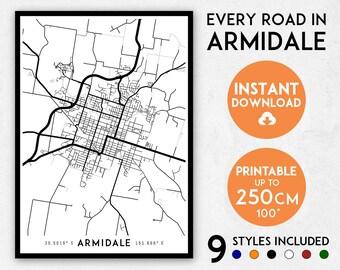 Armidale map print, Armidale print, Armidale city map, Australia map, Armidale poster, Armidale wall art, Map of Armidale, Armidale art