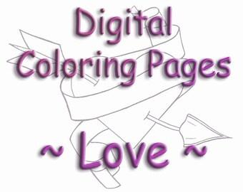 Printable Coloring Book 14 Color Pages Digital Color Sheets Zen Doodle Templates Love Hearts ZenDoodle Template PDF JPEG Instant Download
