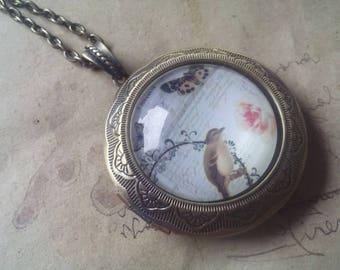 Locket necklace ~ bird ~ ~ bronze ~.