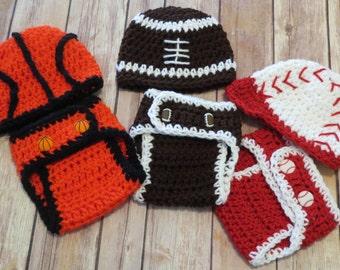 Crochet Basketball, Baseball, Football, Soccer, Crochet Hat and Diaper Cover, Photo Props, Preemie-Newborn to 3 mo, baby boy, shower gift