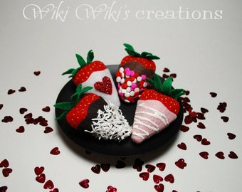 Felt Food Chocolate Covered Strawberries