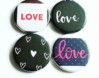 Love Magnets, happy couple, housewarming, wedding gift, bridal shower, set of four magnets