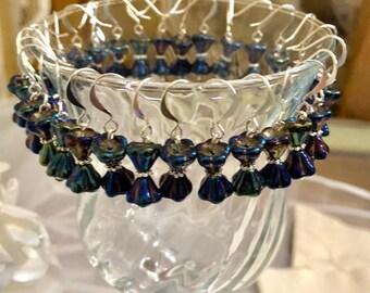 Crystal Bow Tie Earrings- Iris Blue