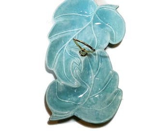 Mid Century TURQUOISE DISH Aqua MCM Candy Dish Serving Dish Handle UsA Pottery Divided Leaf Dish Nut Dish Retro Condiment Dish Hostess Gift