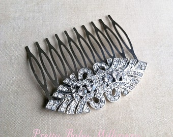 Art Deco Comb, Silver hair comb, wedding comb,Art Deco headpiece, Bridal Hair Comb, bridal comb,hair accessories   EYE SILVER