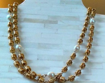 "Necklace / 48"" / Gold Tone Beads and Faux Pearls / Vintage / Weighty"