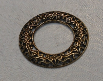 LuxeOrnaments Oxidized Brass Domed Open Circle Frame 1 pc 28mm S-9090-B