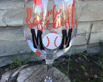 Baseball mom wineglass- baseball- wine- wineo- baseball glass- mom wine glass- baseball wine- baseball glass for Mom