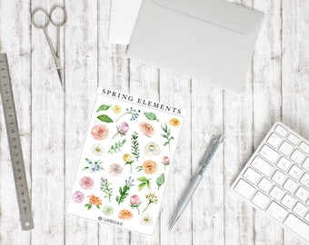 Sticker Spring Elements-watercolor Flower nature illustrations