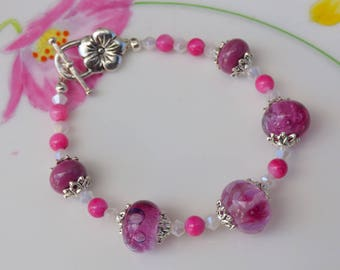 ARTISAN LAMPWORK BRACELET, art glass beads, pink, one of a kind, Gift for her.