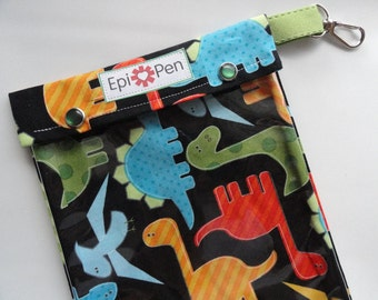XL Epi Pen Carrier w/ Clear Pocket and Clip Holds 2 Allergy Pens / Antihistamine/ First Aid (6x8 Dinosaurs Fabric) Free Gift Included