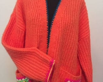 Knitted and crochet funky bright cardigan