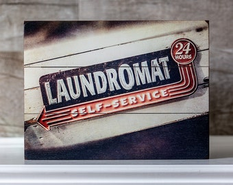 "IN STOCK: 9x12"" Laundry Room Sign, Laundry Room Wood Planked Sign on Planks, Wood Signs for Laundry Room, Retro Laundry Room."