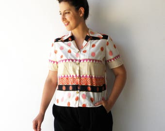 Vintage Novelty Top / Colorful Button Up Blouse / Size L