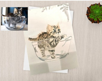 Cat Portrait Original Watercolor