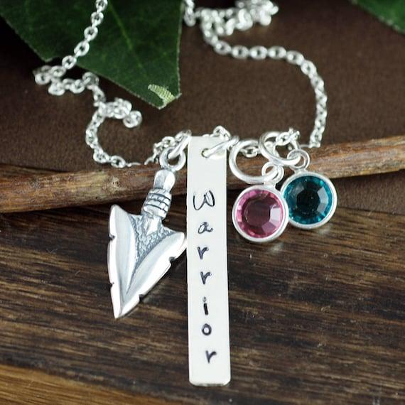 Warrior Necklace, Silver Arrow Necklace, Hand Stamped Warrior Necklace, Arrowhead Jewelry, Awareness Necklace, Tribal Necklace, Tribal Gift