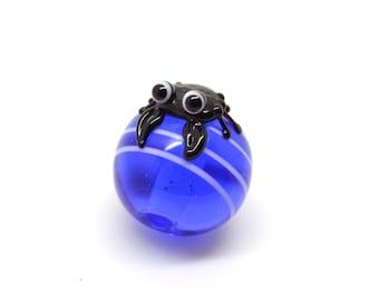 Lampwork glass bead - water crab - single bead-