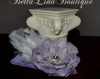 """Plum Purple Boutique Flower Clippie/ Fascinator and Lavender Stretch Headband - 5"""" Flower - 8"""" from Feather to Flower -  Ready to Ship"""