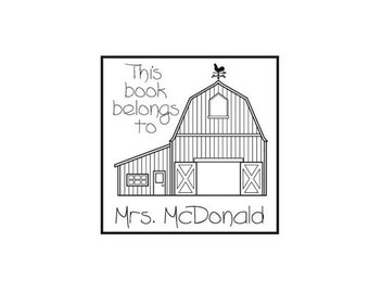 Personal library custom rubber stamp barn themed farm