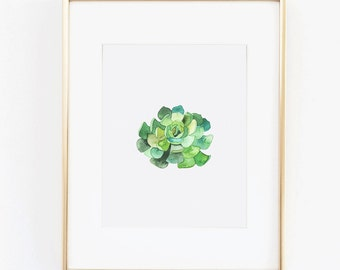 Watercolor Print - Green Succulent Floral Digital Download Art Print