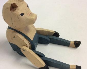 Distressed Primitive Carved  articulated Vintage Wooden Pig in overalls