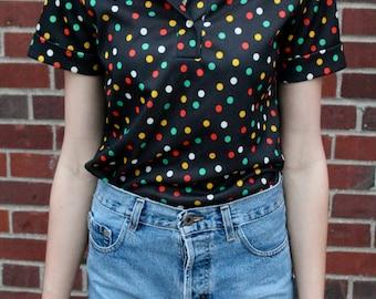 Black Colorful Polka Dot Shirt- Size Small / Medium