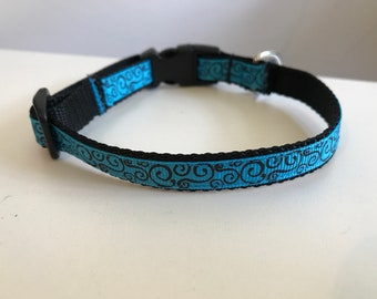 Aqua and Black Swirl Small 1/2 inch Dog Collar