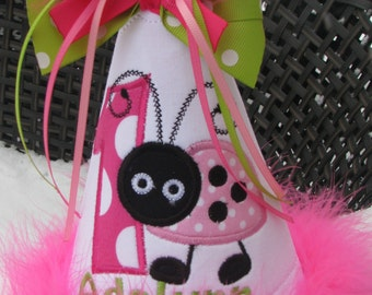 pink ladybug birthday hat,birthday hat, smash cake hat, 1st birthday hat, party hat