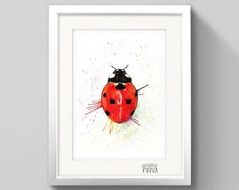 A5 Ladybird Watercolour Print
