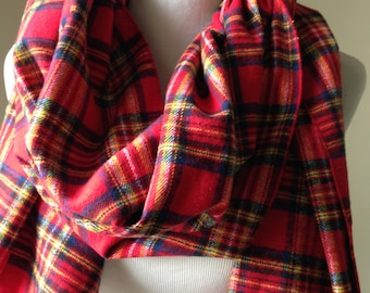 Red and Blue Plaid Flannel  Scarf, Red Plaid Flannel, Flannel Scarf, Red Plaid Scarf, Red and Blue Plaid Scarf, Gift, Scarf, FREE SHIPPING