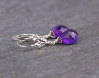 Amethyst Earrings, Purple Gemstone Drop Earrings, Sterling Silver Gold Filled Leverback Earrings, Closed Earrings, February Bi