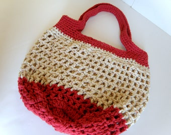 OOAK Large Beach Bag, Country Barn Red and Bone Crocheted Cotton tote Bag, Oversized Thick and Durable Market Bag