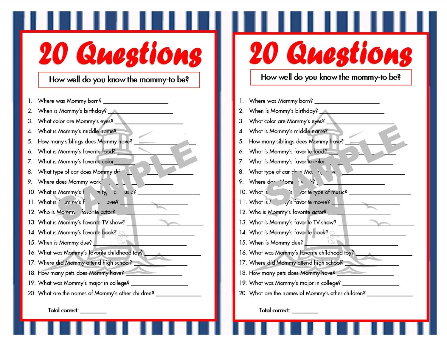 Book Cover Printable Questions ~ Questions nautical printable party game baby