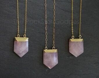 Gold Rose Quartz Necklace / Gold Rose Quartz Pendant / Rose Quartz Necklace / Rose Quartz Crystal Necklace