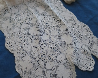 Lovely Antique Victorian Silk Handmade Maltese Lace 150 cm long