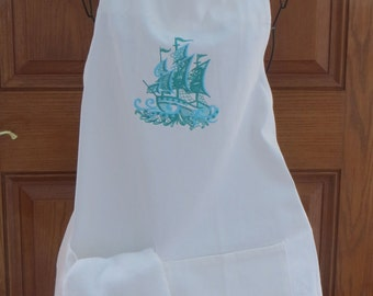 White Purchased Apron with Embroidered Ship In Water-y Blues   Great Gift for someone with a beach house