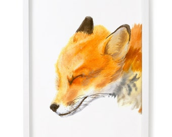 Fox Print, Fox Watercolor Print, Fox Wall Art