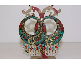 Big Hoop Funky Statement Earrings Accessories Fashion Costume Jewellery