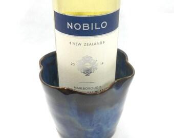 Pottery Wine Holder Ceramic Wine Holder Pottery Vase Ceramic Vase Pottery Utensil Holder Ceramic Utensil Holder in Blue and Black