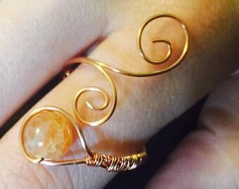 Gemstone Woven Whirl Ring