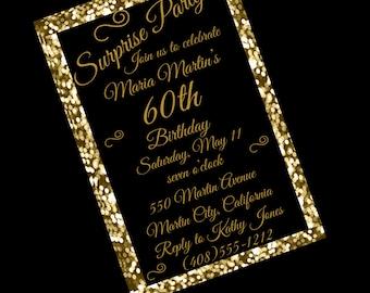 60th Birthday Invitation Elegant Party Invitation Chalk Womens