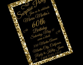 60th birthday invitation 60th birthday party invitation 60th 60th birthday invitation 60th birthday party 60th surprise party invitation black and gold filmwisefo Choice Image