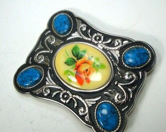 Belt Buckle,  USA Western Motif,  1980s w My Stones OOAK, Country Western Man's  Accessory, Silver Turquoise and Rose Cabochon Focal