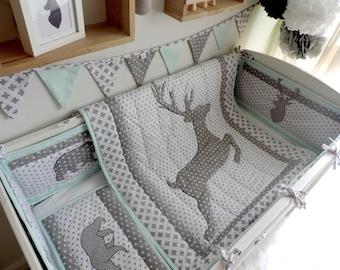 New Mom Gift - Newborn Gift - Deer Baby Bedding - Woodland Nursery Crib Bedding - Toddler Bedding - Crib Bumper - Deer Quilt - Baby Shower -